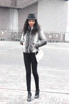 heather gray faux fur coat - black heeled brogue shoes - black pencil jeans