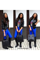 black leather boots - black leather jacket - black leather bag