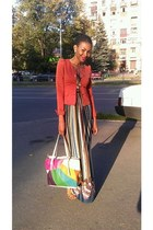 maxi dress dress - cotton blazer - multi color bag