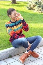 ruby red sweater - brown lace-up boots - blue ripped jeans