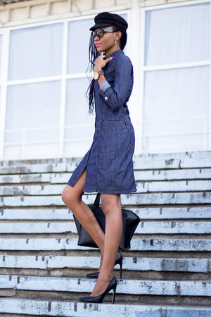denim shirt dress - black H&M hat - black cat eye zeroUV sunglasses