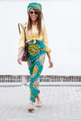 Light-yellow-shirt-forest-green-ankara-skirt