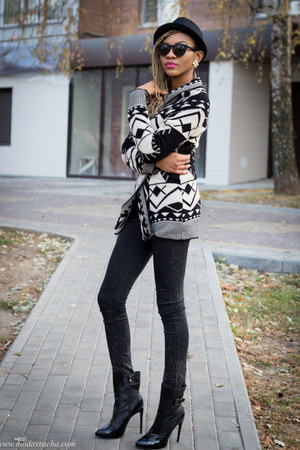 wrap Club L cardigan - black Boohoo boots - black jeans