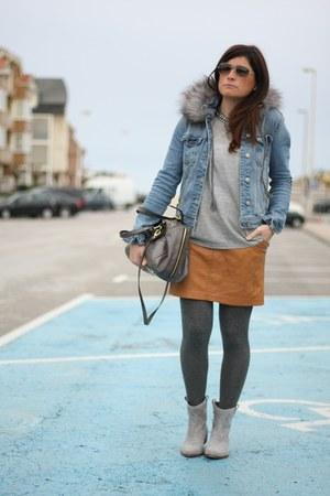 leather falda skirt