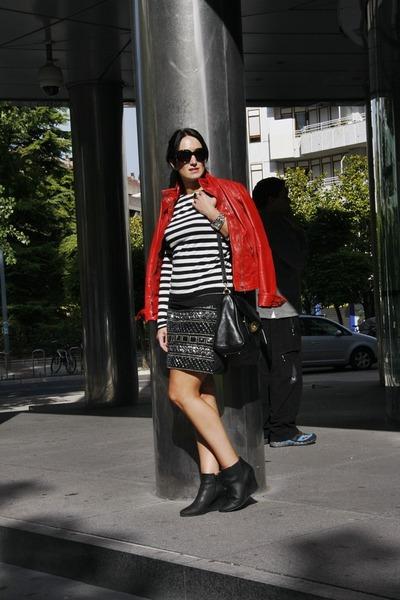BLANCO skirt - Spartoo boots - leather Bershka jacket - Massimo Dutti bag
