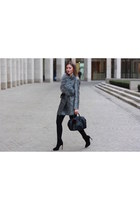 silver asos coat - black Zara shoes - heather gray asos scarf - black Furla bag