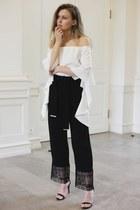 black culotte Pinko pants - white off-shoulder Pinko top