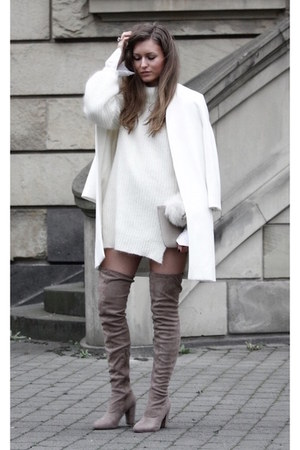 beige overknees asos boots - white edited jumper