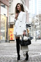 black asos boots - white Zara blazer - black Furla bag