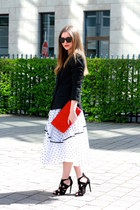 black Zara blazer - red H&M bag - black Le specs sunglasses - black Zara sandals