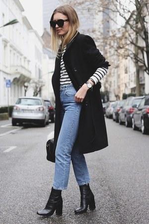 black boyfriend coat Zara coat - black Zara boots