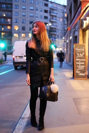 black & other stories boots - black leather coat Mango coat