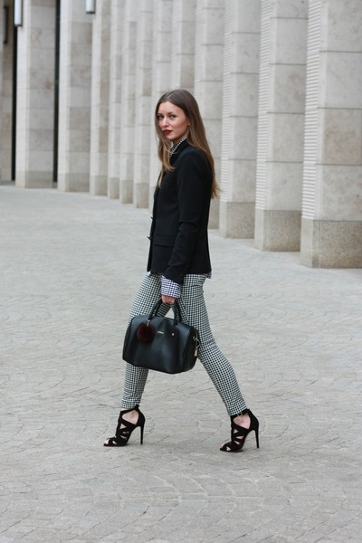 black Zara blazer - black Furla bag - black Uniqlo pants - black Zara sandals