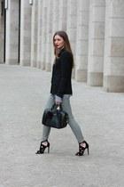 black Zara blazer - black Furla bag - black Uniqlo pants - black Zara sandals