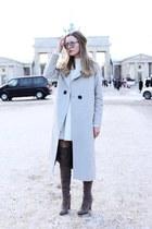 silver asos coat - light brown asos boots - white Miss Selfridge dress