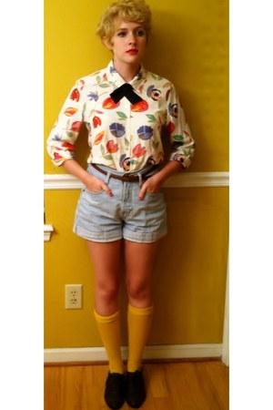 fruit print blouse - brogues shoes - jean shorts - yellow socks