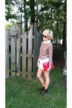 ankle Forever 21 boots - knit H&M sweater - red thrifted purse