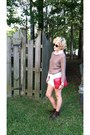 Ankle-forever-21-boots-knit-h-m-sweater-red-thrifted-purse