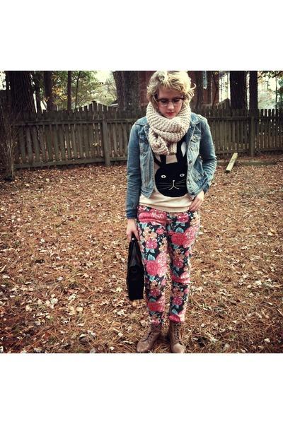 bunny Forever 21 sweater - floral print Target jeans - denim Forever 21 jacket