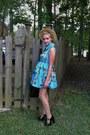Blue-floral-romwe-dress-polka-dot-forever-21-stockings