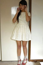 white amourette by amie mai dress - beige Topshop socks - red Topshop shoes