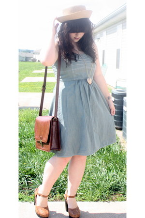 platform Forever 21 shoes - denim Target dress - satchel Target purse - heart-sh