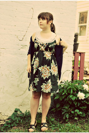 floral Anthropologie dress - thrifted vintage accessories - Target cardigan - St