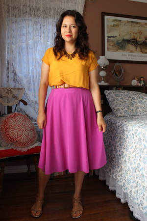 mustard f21 top - hot pink J Crew skirt