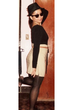 black hat - black tights - beige skirt - tawny belt - black top