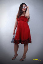 red dress - silver purse - pink cutout heels - black geek glasses
