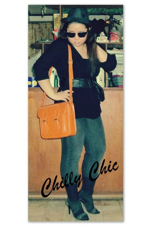 black socks - dark gray jeans - carrot orange bag - black heels - black top