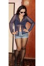 Black-bra-blue-shorts-navy-sheer-cardigan-black-stockings-black-heels