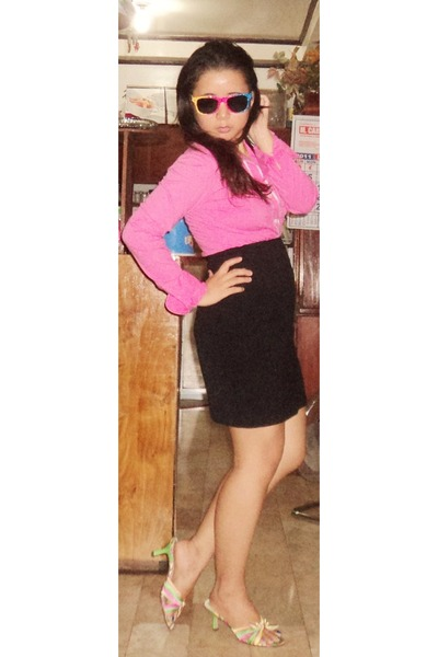 hot pink shirt - sunglasses - black skirt - heels
