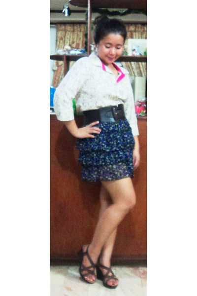 purple skirt - cream shirt - dark brown belt - dark brown sandals