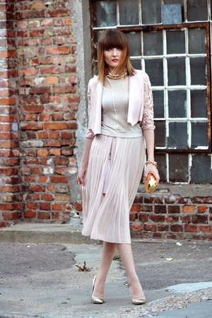 light pink Bershka blazer - light pink Bershka skirt
