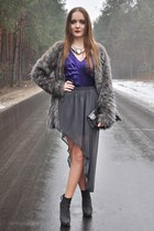 charcoal gray Zara skirt - gray Zara boots - charcoal gray Stradivarius coat