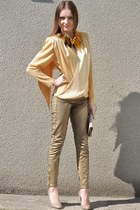 gold Zara pants