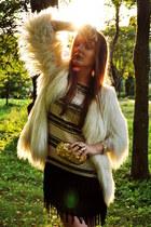 white Zara coat - beige Zara dress