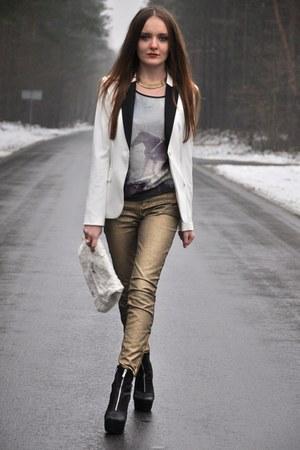 white H&M jacket - gold Zara jeans - violet H&M t-shirt