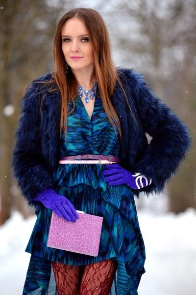 blue Bershka coat - hot pink Orsay bag