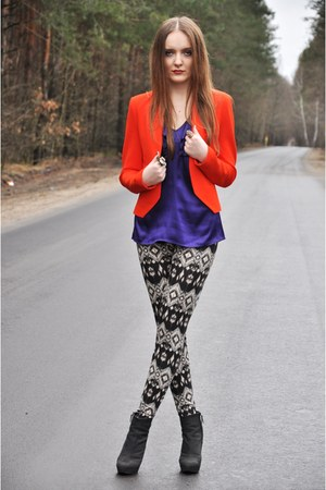 gray Stradivarius leggings - dark gray Zara boots - carrot orange Zara jacket