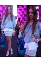 sky blue Zara blouse - white Bershka skirt