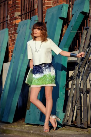 chartreuse Zara skirt - white Zara blouse