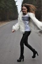 white Zara coat - black Bershka pants