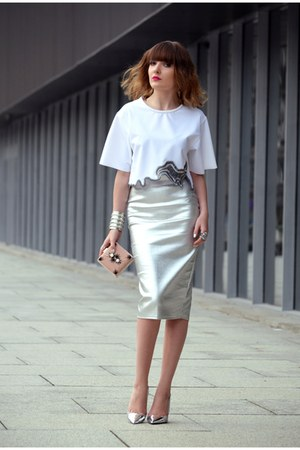 silver River Island skirt - white Zara blouse