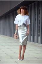 silver River Island skirt - white Zara blouse