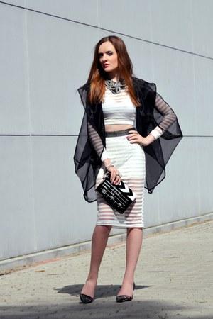 black romwe bag - white Romwecom dress