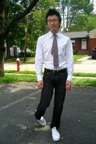 white Diesel shirt - gray ax jeans - red vintage dior tie - white Converse shoes