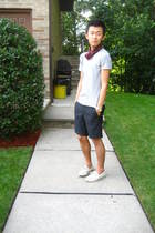 red vintage accessories - gray H&M t-shirt - blue H&M shorts - beige sperry shoe