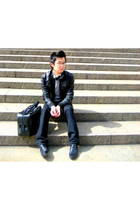 black Zara jacket - black Zara shoes - silver Jcrew sweater - white Diesel shirt